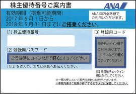 ANA 株主優待券 期限 2018年5/31 送料込み